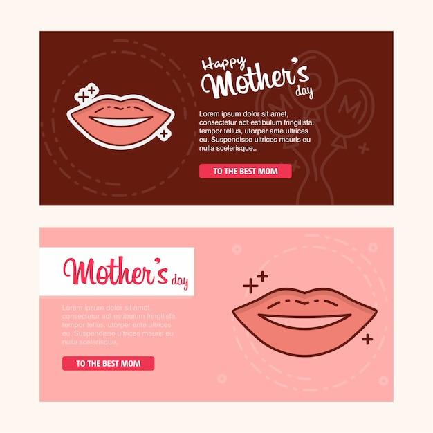 Carte de fête des mères avec logo lèvres et vecteur thème rose Vecteur Premium