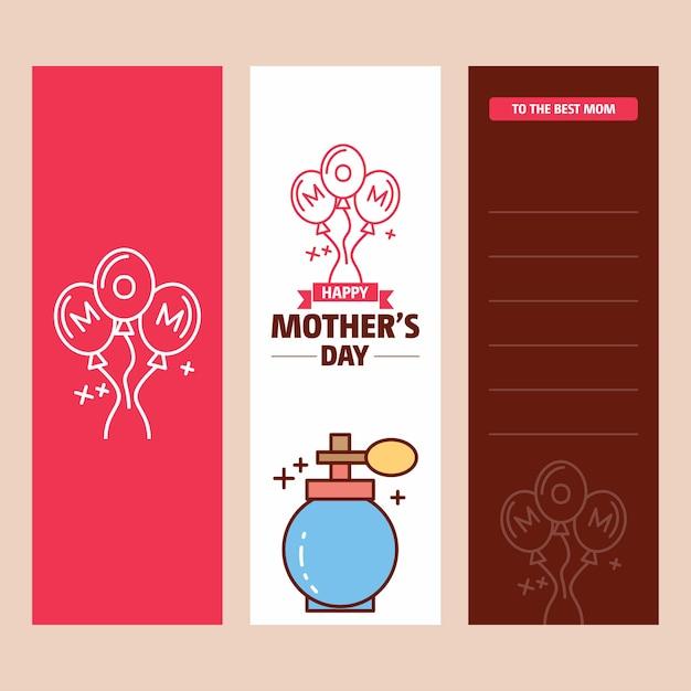 Carte de fête des mères avec logo de parfum et vecteur thème rose Vecteur Premium