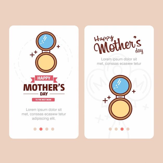 Carte de fête des mères avec logo poudre visage et vecteur thème rose Vecteur Premium