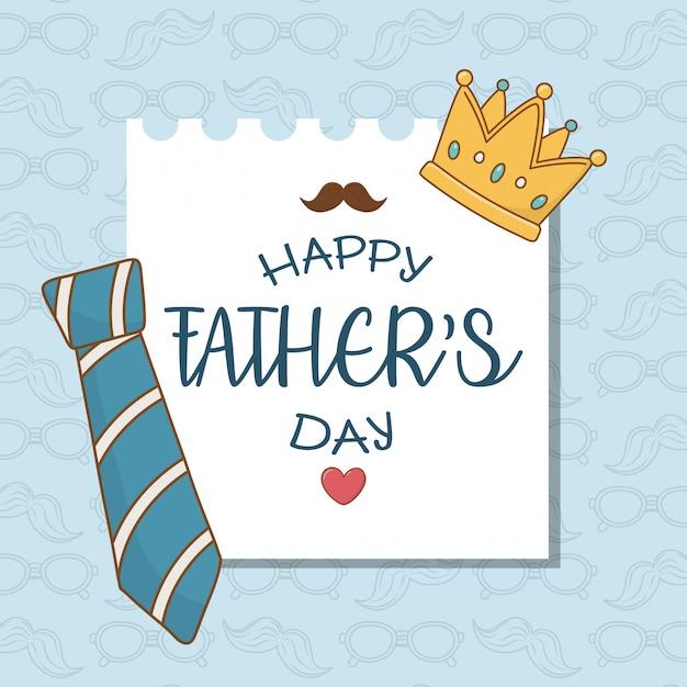 Carte de fête des pères heureuse avec cravate Vecteur Premium