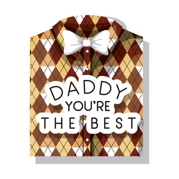 ca715ebe7ae4a Carte de fête des pères heureux avec chemise élégante et noeud papillon  Vecteur Premium
