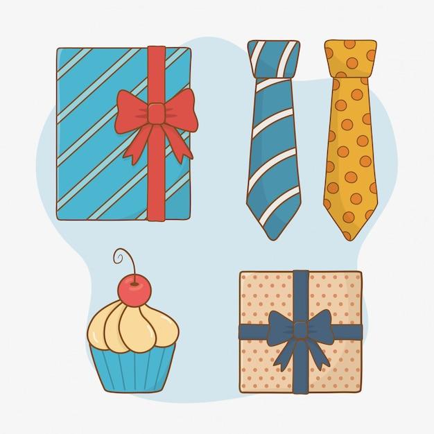 Carte de fête des pères heureux avec éléments définis Vecteur Premium
