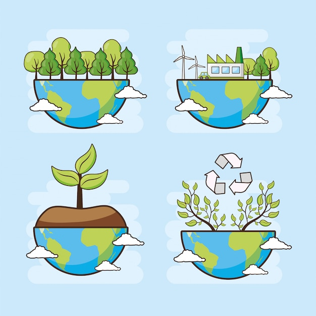 Carte De Fête De La Terre, Planète Avec Forêt Et Arbres, Illustration Vecteur gratuit