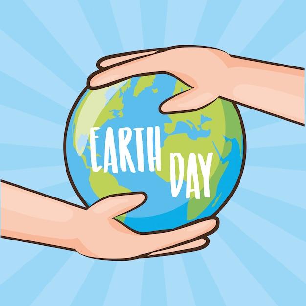 Carte de fête de la terre, la terre étant tenue par les mains, illustration Vecteur gratuit
