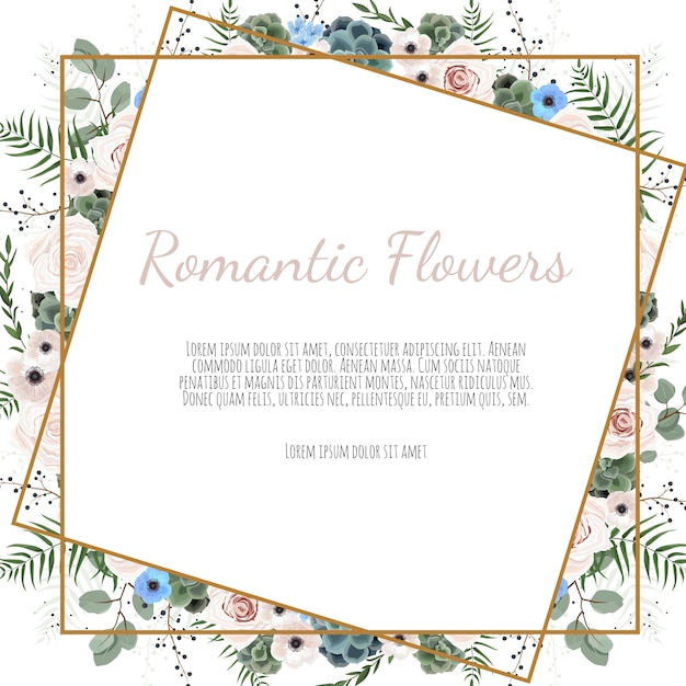Carte avec feuilles et cadre géométrique. affiche florale. Vecteur Premium