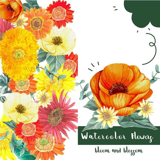 Carte de fleurs fraîches Vecteur gratuit