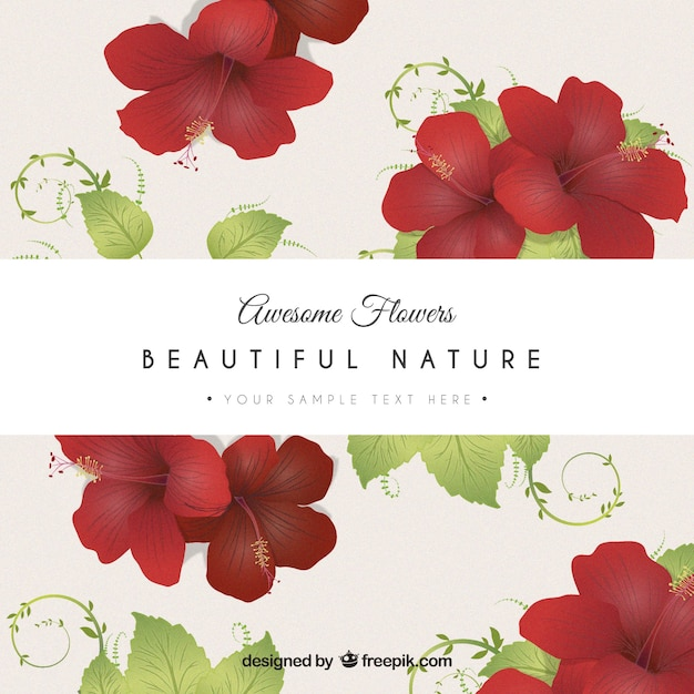 Carte de fleurs rouges Vecteur gratuit