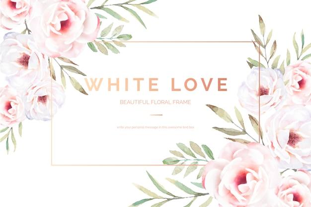 Carte florale élégante avec des fleurs blanches Vecteur gratuit