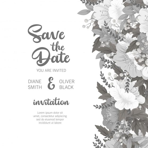 Carte Florale Modèle De Mariage Floral Blanc Et Noir Vecteur gratuit
