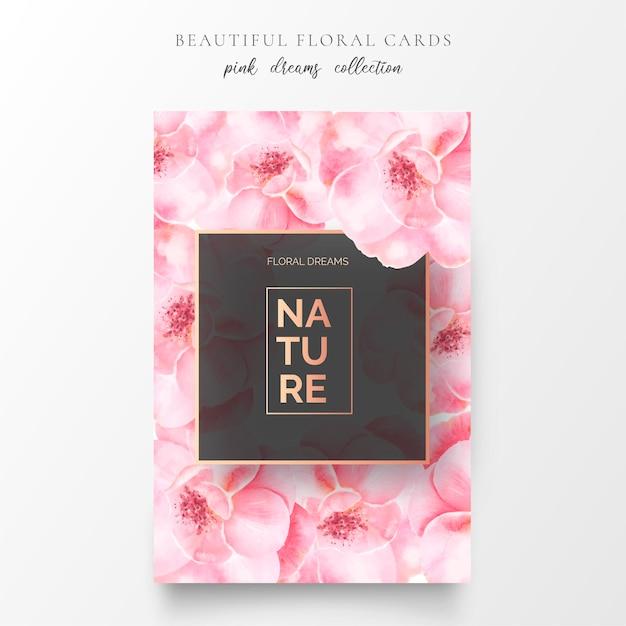 Carte florale romantique avec fleurs rose tendre Vecteur gratuit
