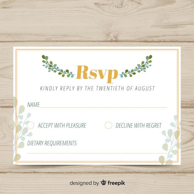 Carte florale de rsvp de mariage Vecteur gratuit