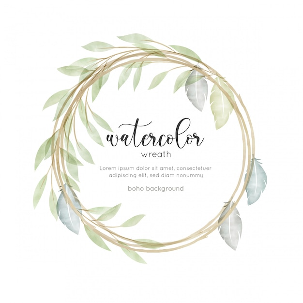 Carte florale style aquarelle bohème Vecteur Premium