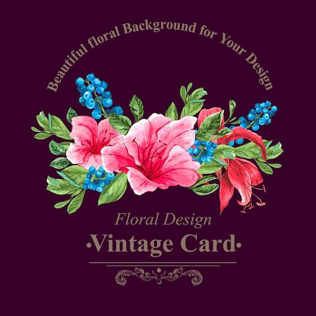 Carte florale vintage avec des roses et des fleurs sauvages Vecteur Premium