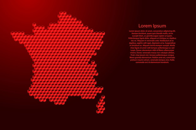 Carte De France Du Concept Abstrait Isométrique De Cubes Rouges 3d Vecteur Premium