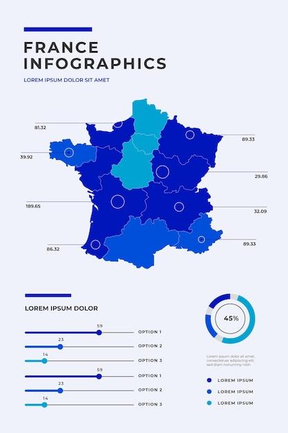 Carte De France Infographique Vecteur gratuit