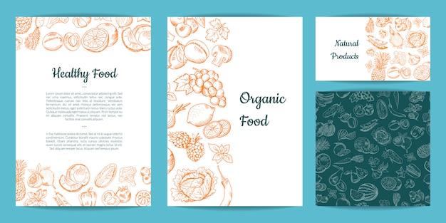 Carte de fruits et légumes dessinés à la main vector, brochure, dépliant, modèle de carte de visite Vecteur Premium