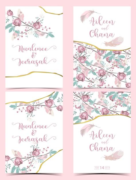 Carte géométrique or rose vert Vecteur Premium