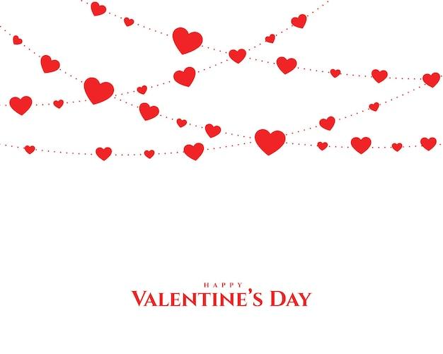 Carte De Guirlande Coeurs Saint Valentin Vecteur gratuit