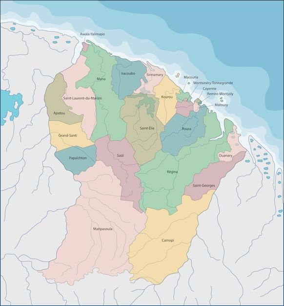 Carte De La Guyane Française Vecteur Premium