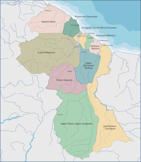 Carte De La Guyane Vecteur Premium