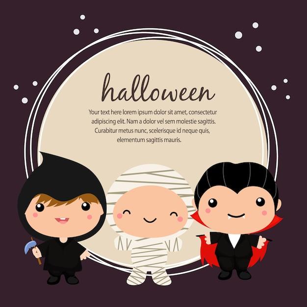 Carte d'halloween avec costume de dracula Vecteur Premium