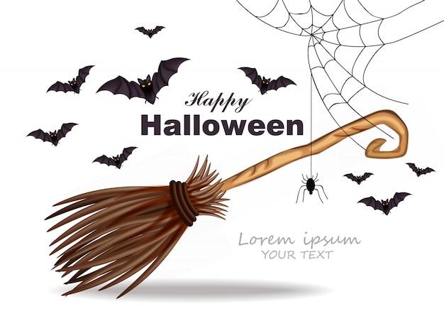 Carte halloween avec décoration en toile d'araignée Vecteur Premium