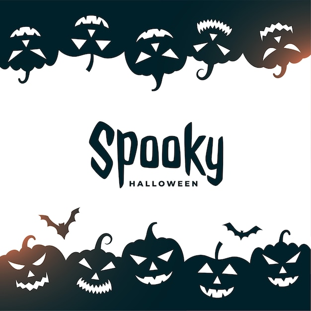 Carte D'halloween Effrayante Avec Des Chauves-souris Et Des Citrouilles Effrayantes Vecteur gratuit