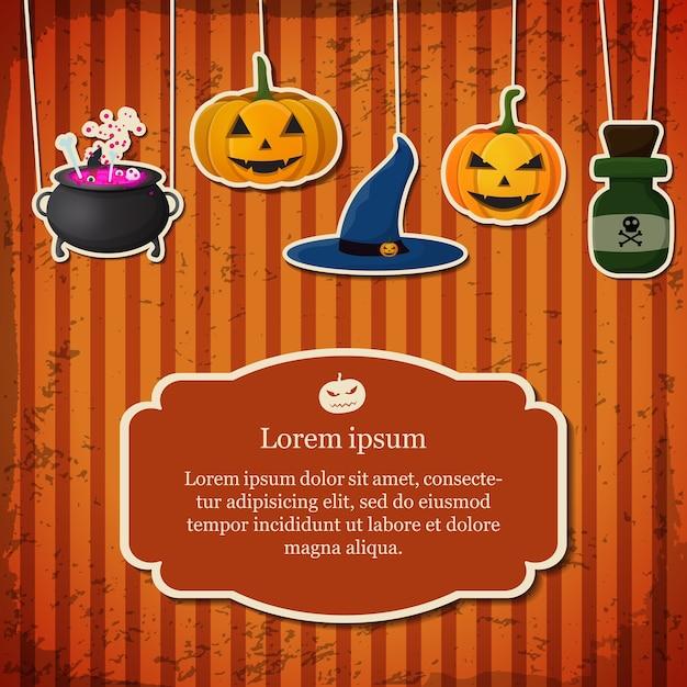 Carte D'halloween Festive Avec Texte Dans Le Cadre Suspendu Bouteille De Poison De Chaudron De Chapeau De Sorcière Vecteur gratuit