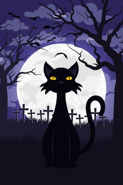 Carte D'halloween Heureux Avec Chat Dans La Conception D'illustration Vectorielle Scène Cimetière Vecteur Premium