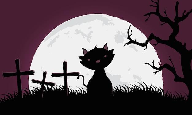 Carte D'halloween Heureux Avec Chat Noir Dans La Conception D'illustration Vectorielle Scène Cimetière Vecteur Premium