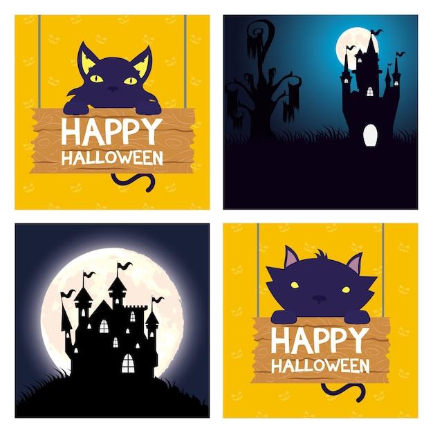 Carte D'halloween Heureux Avec Des Chats Et Des Scènes De Châteaux Hantés Conception D'illustration Vectorielle Vecteur Premium