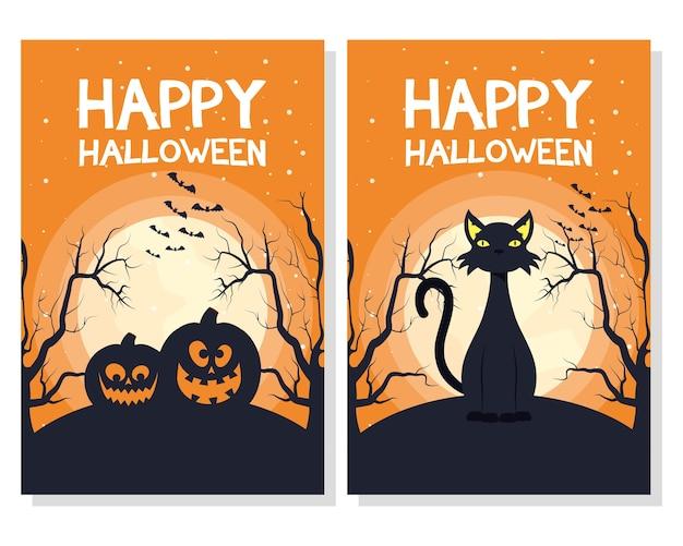 Carte D'halloween Heureux Avec Des Citrouilles Et Des Scènes De Chat Vector Illustration Design Vecteur Premium