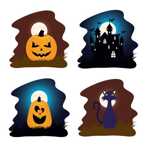 Carte D'halloween Heureux Avec Des Citrouilles Et Des Scènes De Maison Hantée Vector Illustration Design Vecteur Premium