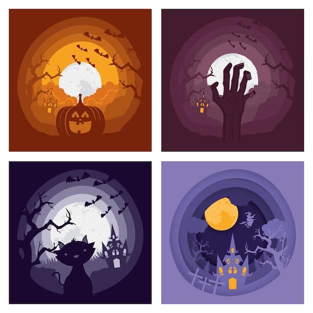 Carte D'halloween Heureux Avec Quatre Scènes Sombres Set Vector Illustration Design Vecteur Premium