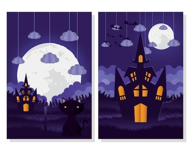 Carte D'halloween Heureux Avec Des Scènes De Chat Et De Château Vector Illustration Design Vecteur Premium