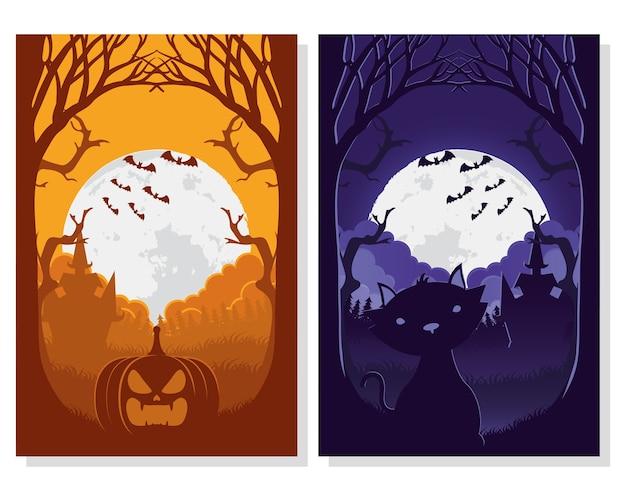 Carte D'halloween Heureux Avec Des Scènes De Chat Et De Citrouille Vector Illustration Design Vecteur Premium