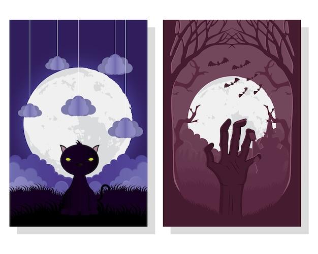 Carte D'halloween Heureux Avec Des Scènes De Main De Chat Et De Mort Vector Illustration Design Vecteur Premium