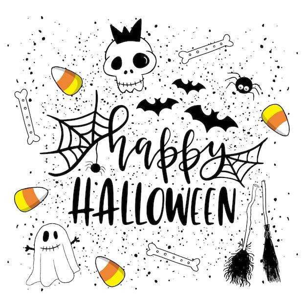 Carte d'halloween heureux. Vecteur Premium