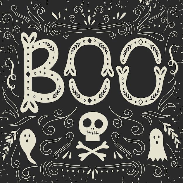Carte d'halloween avec lettrage. Vecteur Premium