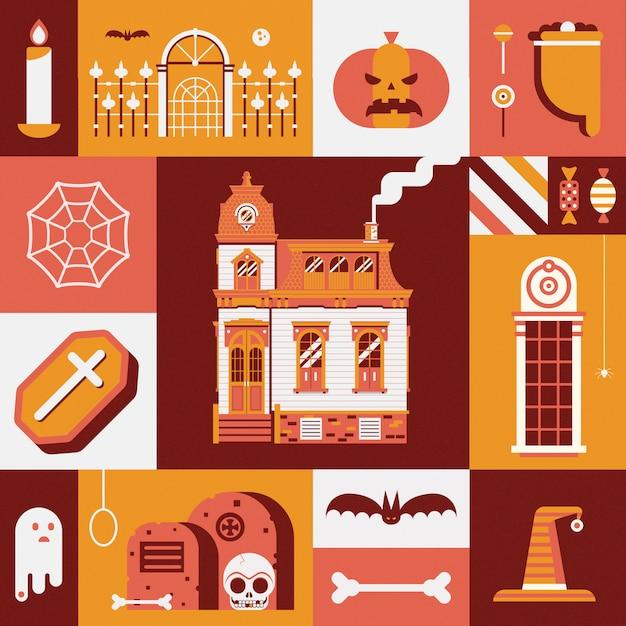Carte D'halloween Vintage Avec Vieille Maison Hantée, Sac De Bonbons Ou De Friandises, Fantôme Effrayant Et Autres Symboles Fantasmagoriques Traditionnels. Vecteur Premium
