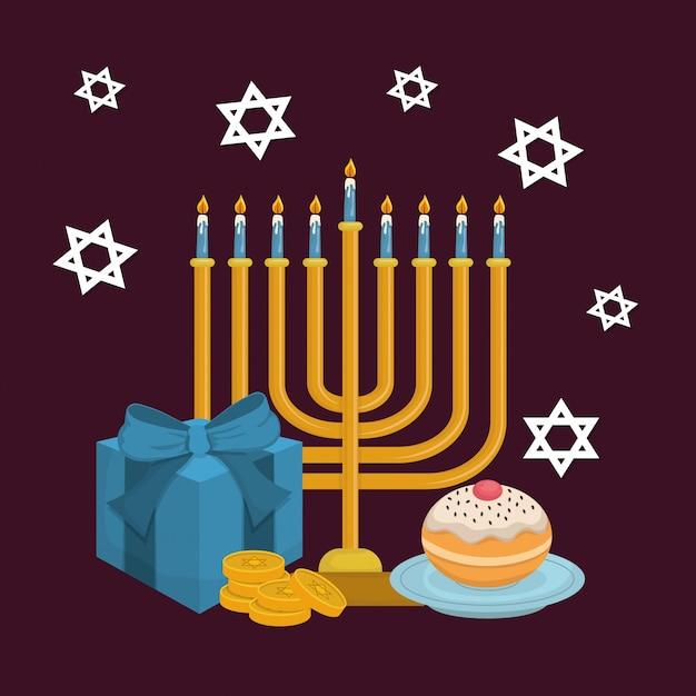 Carte de hanukkah heureux avec lustre Vecteur Premium