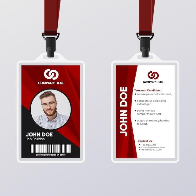 Carte D'identité Abstraite Pour Travailleur Masculin Vecteur gratuit