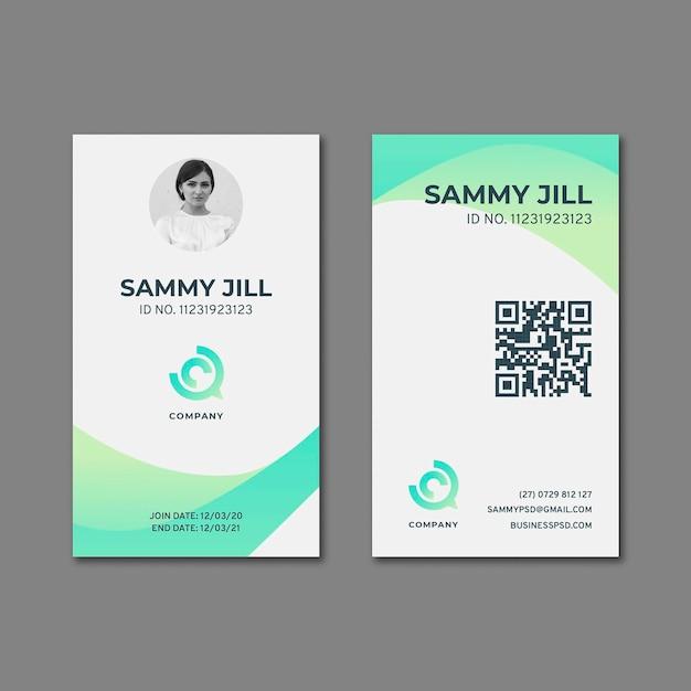Carte D'identité Commerciale Marketing Vecteur Premium