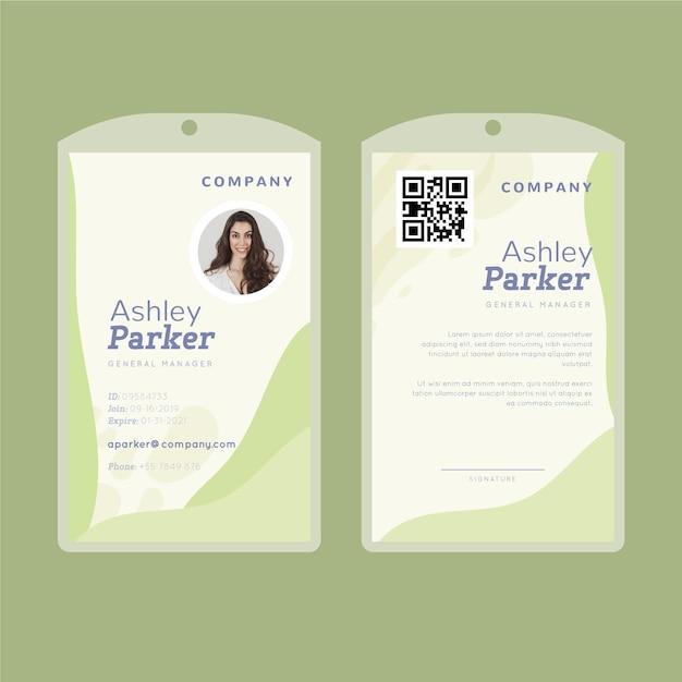 Carte D'identité Avec Des Formes Abstraites De Citron Vert Vecteur gratuit