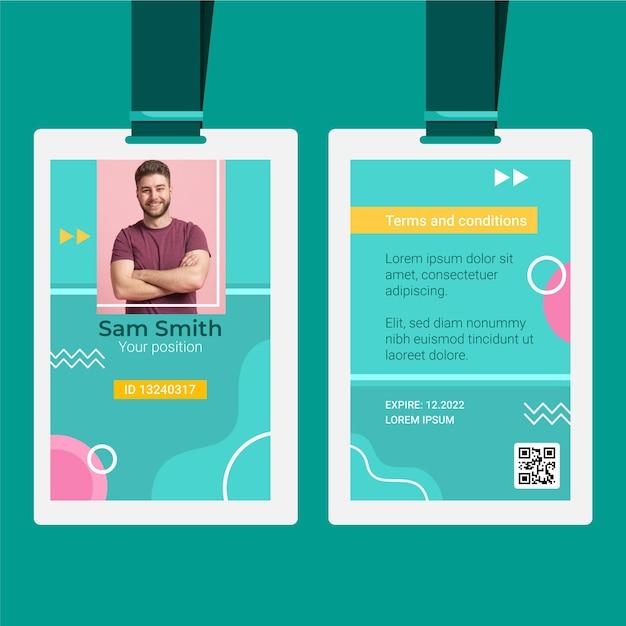 Carte D'identité Avec Des Formes Abstraites Vecteur gratuit