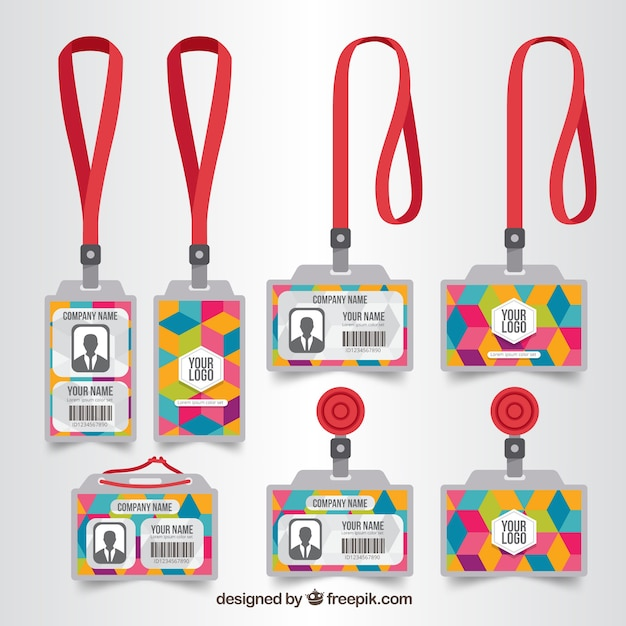 Carte d'identité plate avec collection fermoirs et cordons Vecteur gratuit