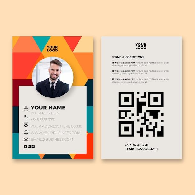 Carte D'identité Professionnelle Générale Vecteur Premium