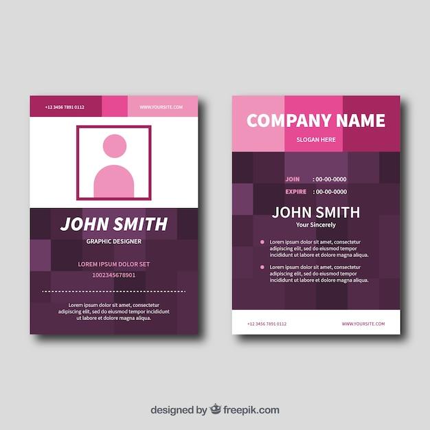 Carte d'identité rose Vecteur gratuit