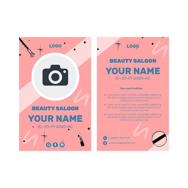 Carte D'identité De Salon De Beauté Vecteur gratuit