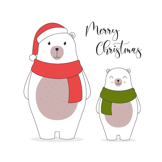 Carte D'illustration Joyeux Noël. . Personnages Mignons D'ours Polaires. Vecteur gratuit